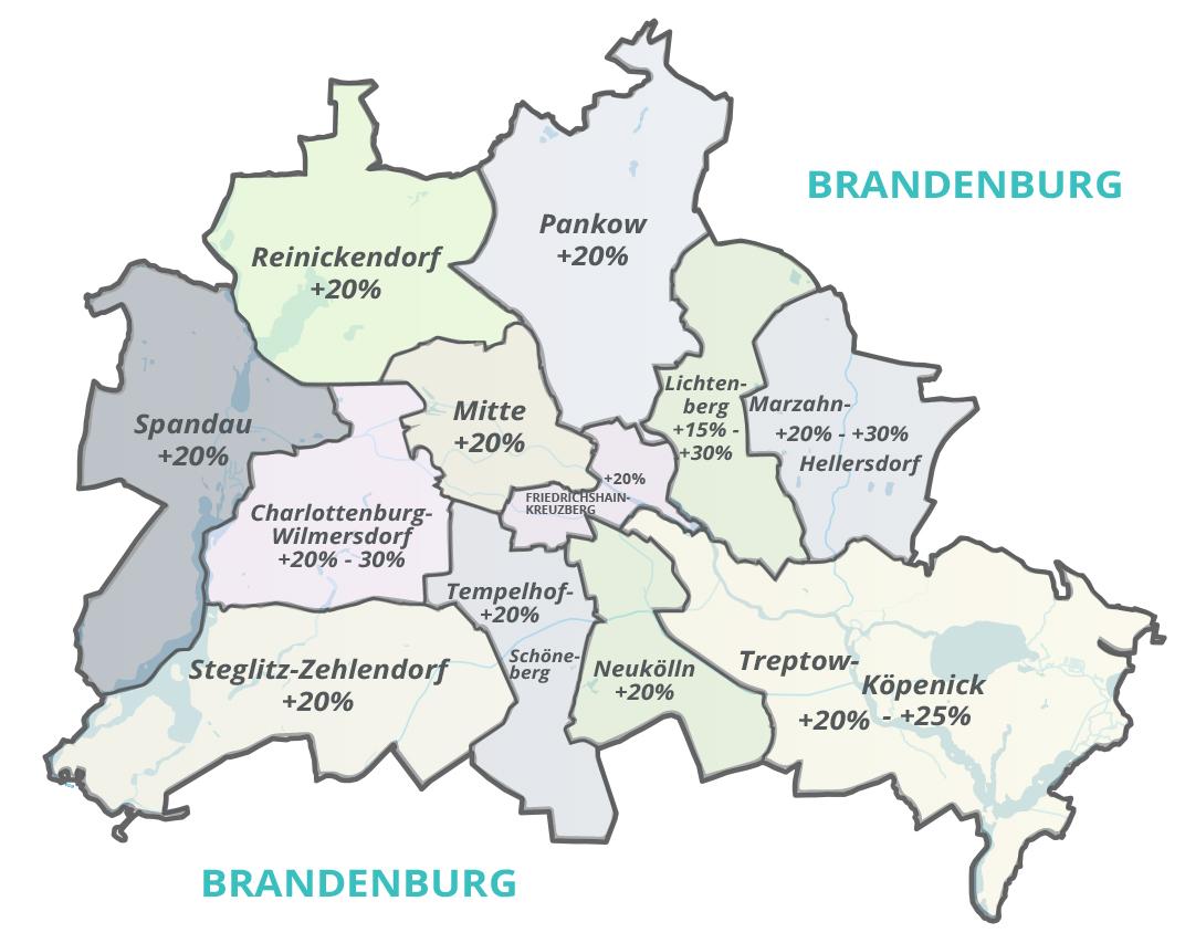 Berlin Bezirke mit Grundstückspreissteigerung